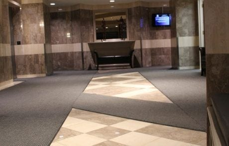 Interior view of entrance matting at Kent Street Towers