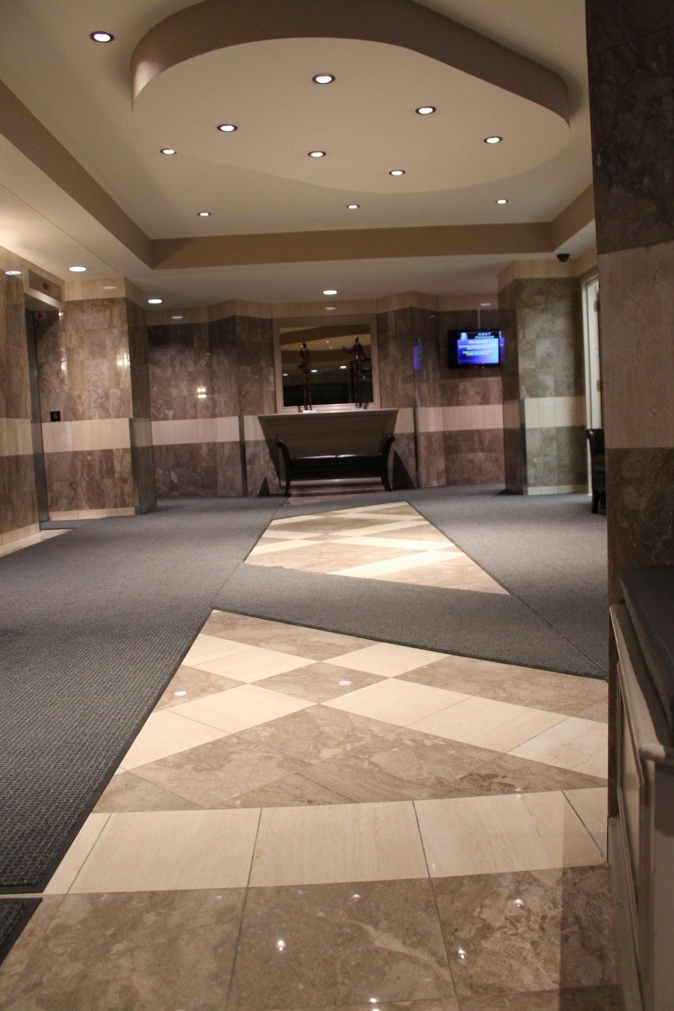 Interior view of entrance matting at Kent Street Towers